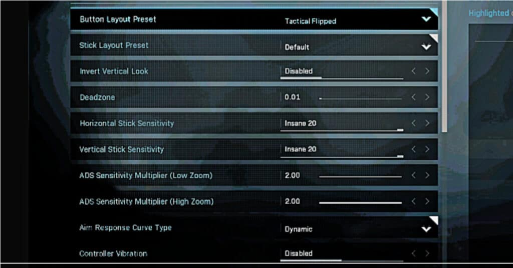 Screenshot of COD Controller settings mentioned above for when you watch me game